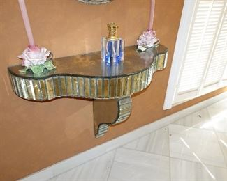 Art-Deco contemporary mirrored serpentine Console Table