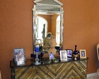 Art-Deco contemporary Mirrored Console Cabinet with Associated Mirror.