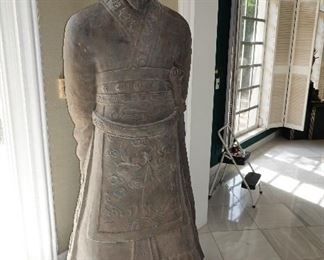 "Pair of matched full height (approx. 72"") Chinese Terra-Cotta Warrior statues (20th Century)"