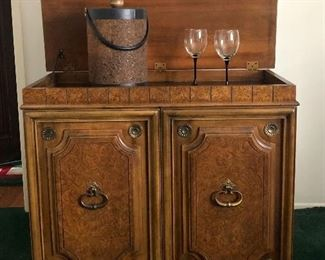 Lot # 3, Picture 1. Price $575. - Vintage Burl Wood Bar Cabinet including 6 Vintage Green Shot/Cordial Glasses. Excellent Condition. Does not include glasses or ice bucket. Not Subject to 25% Discount