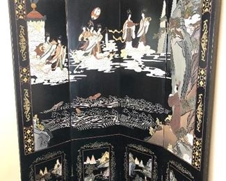 """Lot #2, Picture 1. Price $1,000 - Vintage Black Chinoiserie Wood Carved 4-Panel Screen. Dimensions: 80""""W x 84""""T. Not Subject to 25% Discount"""
