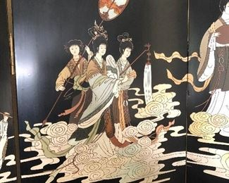 """Lot #2, Picture 2. Price $1,000 - Vintage Black Chinoiserie Wood Carved 4-Panel Screen. Dimensions: 80""""W x 84""""T. Not Subject to 25% Discount"""