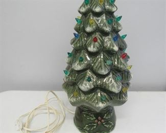 "18"" tall flocked ceramic Christmas tree"
