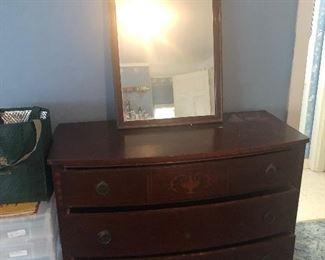 Mahogany dresser and mirror  95.00