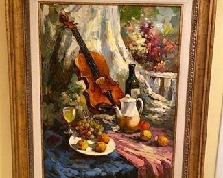 "$950. Violin and Vino Oil on Canvas. 42"" x 53"""