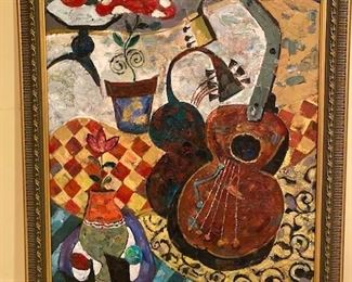 """$850. Guitar and Flower Pot Oil Painting. 36""""x46"""""""