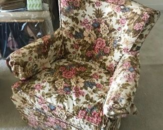 Flowered Upholstered Chair $ 38.00