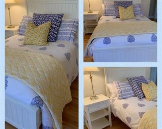 Pottery Barn Beadboard Full Bed, Nightstand Mattress/Boxspring included. $500