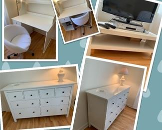 Various IKEA Furniture, excellent condition.   Hemnes Dresser: $120.  TV Stand:  $60.  Desk, Hutch and Rolling Chair:  $100