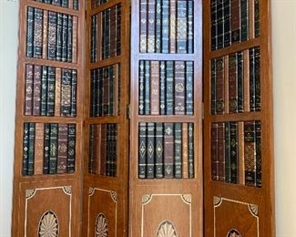Vintage Four-Paneled Library Folding Screen $150