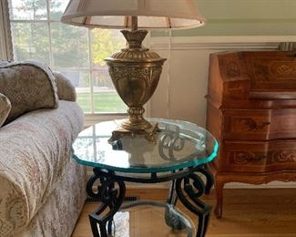 Wrought Iron End Table with Glass Top (2 Available) $75 each