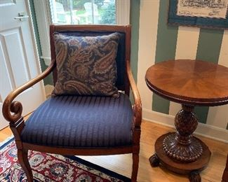 Ethan Allen Side Accent Chair $150/each.  Ethan Allen Round Carved Pineapple Pedestal Base Sophia Accent table.  High quality carved  wood base and round inlaid top.  $300