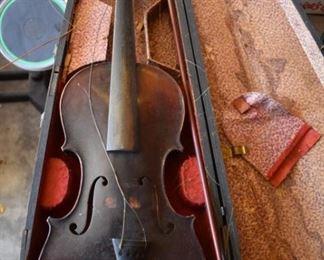Antique Violin with original case in need of repair imprinted with Antonio Stradivarius inside