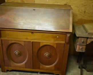 Antique Drop Front Desk with Drawer and Double Door Cabinet