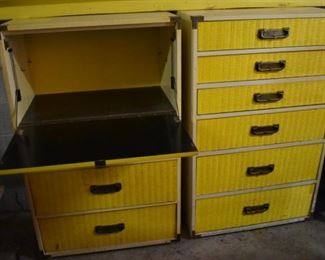 Matching Vintage Wicker Drop Front Desk with 3 Drawers and Matching 6 Drawer Chest