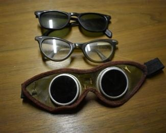 Antique Horseless Carriage or Motorbike Googles and Vintage Eye Glasses