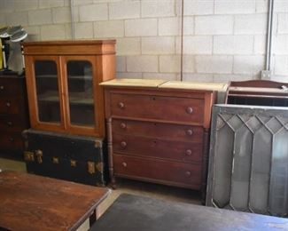 Antique Trunk, 4 Drawer Chest, Steamer Trunks, 4 Matching Windows, and Mid Century Hutch Top