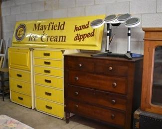 Another pic of the Wicker Drop Front Desk and Matching Chest, 5 Drawer Chest, Mayfield Store Sign and even an Electronic Drum Pad Set-up!