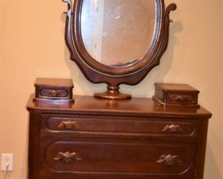 Gorgeous Antique Davis Cabinet Company Jinny Lind Bedroom Set: this is one of the first made and it is in extremely nice condition. Featuring The Dresser with Ox Bow Mirror, Bed, Chest and End Table in Beautiful Condition.