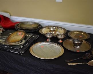 Loads of Collectible Silver Goblets, Tea Set, Bowls, Flatware and More! Plus Sterling Dresser Mirrors for Adult and Child