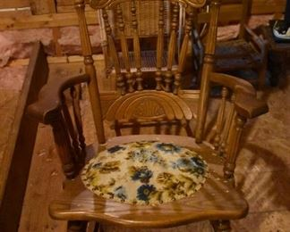 Gorgeous Antique Pressed Back Oak Rocking Chair with Spindle Back