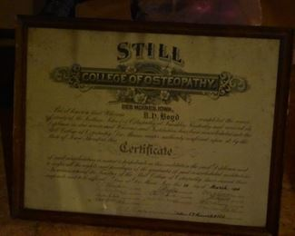 Antique - Degree from College of Osteopathy - 1906