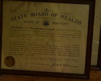 Antique Kentucky State Board of Health  1906