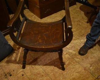 Beautiful Antique Oak Curved Seat Chair