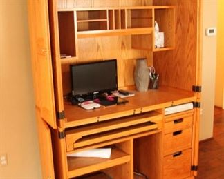 """Handsome Oak Computer desk & armoire  $400.00  48"""" wide by 75"""" tall"""