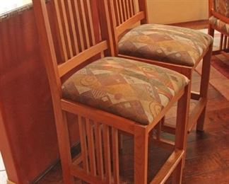 2 Oak Bar Stool with upholstered Seats $100.00 for the pair
