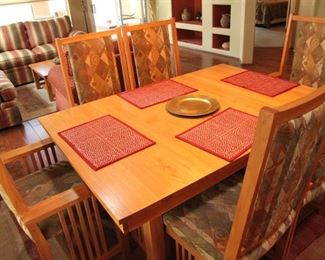 """Mission Style Oak 44""""  by 65""""Table with 6 Chairs & 2 18"""" Leaves Extends 101"""" $900.00"""