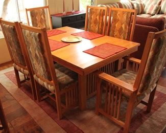 "Mission Style Oak Table with 6 Chairs & 2 18"" Leaves Extends 101"" $900.00"