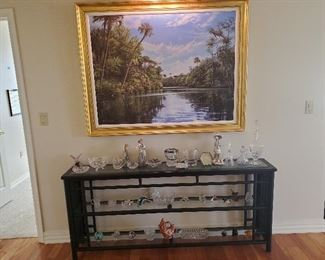 "Black console table presale at $85.  Measures 69 l x 30"" t x 12 d.  The large print of the Everglades is $95."
