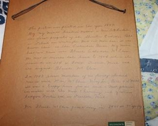 LETTER ON BACK OF PAINTING FROM 1897