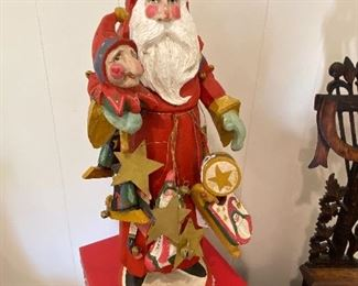 $30.00 Carved wood and polychromed Santa