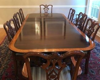 Dining Room Set:  Immaculate Chippendale dining room table with 6 side chairs and 2 armchairs and breakfront featured in other photos.  Table pads included.  Clients would like to sell the entire dining room set with the breakfront and not break it up.