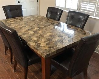 Beautiful table with 6 chairs, can be used as a dinning table or conference table. In excellent condition 70inches wide x 42 inches long, $750