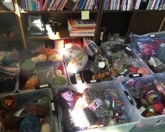 rolls and rolls of all types of knitting yarn