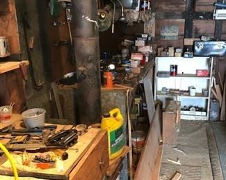 three garages full of tools and stuff