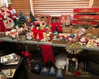 loads of Christmas decorations and ornaments