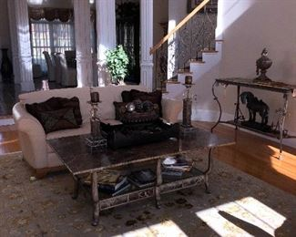 Leather sofa and marble top coffee table in Great Room