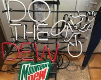 Mountain Dew Do The Dew neon sign.  Priced for parts.  Neon broken on W.