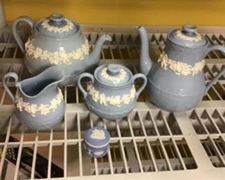 Wedgwood Queensware tea pot, coffee pot and cream and sugar