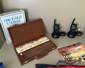 Rummikub in carrying case, How to Host a Murder game, Motorola walkie-talkies, vintage Lionel train catalogs