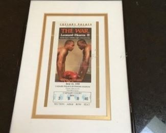 Framed Caesar Palace ticket stub, The War, Leonard and Hearns II boxing match