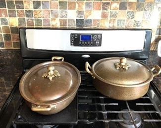 Copper roasting pans. We have a cabinet full of cookware. Including Calphalon