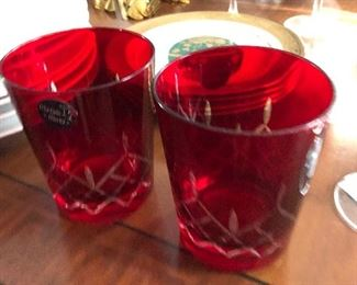 Red crystal glasses