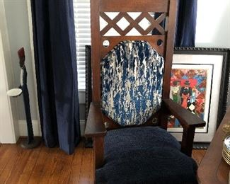 Antique Oak Craftsman Style Oversized Dining Chairs