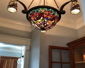 Great craftsman style stained glass light with koi fish detail