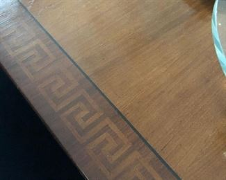 Greek key detail on dining table